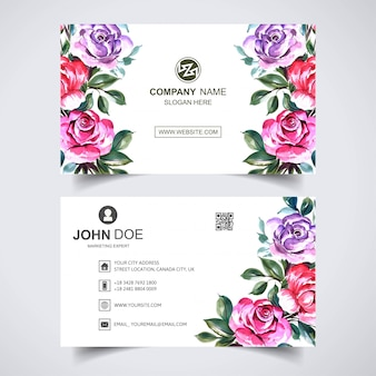 Business card template with flowers design