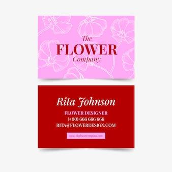 Modello di biglietto da visita con fiori