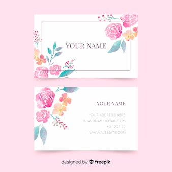 Business card template with flowers
