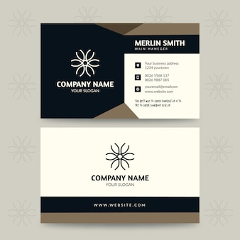 Business card template with geometric design