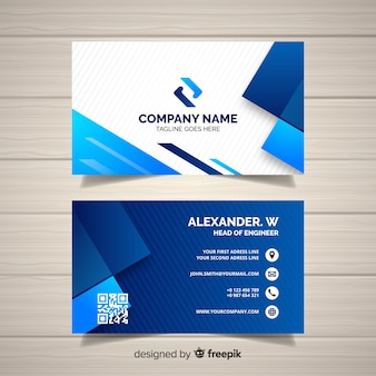 Business card template with geometric shapes Premium Vector