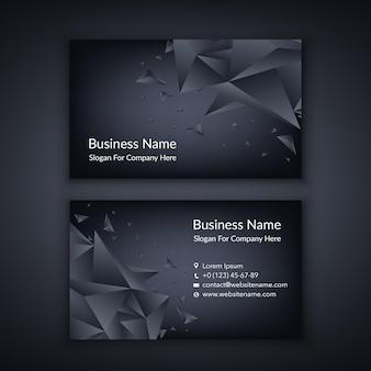 Шаблон визитной карточки с геометрией черный фон