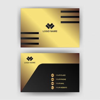 Business card template with gold gradient luxury