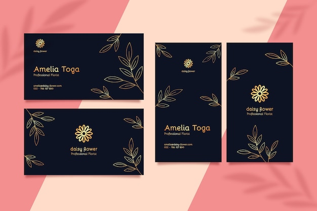 Business card template with golden details