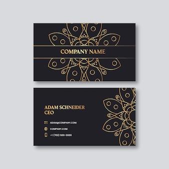 Шаблон визитной карточки с золотой мандалой