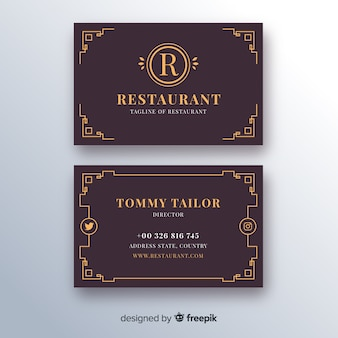 Business card template with golden ornaments