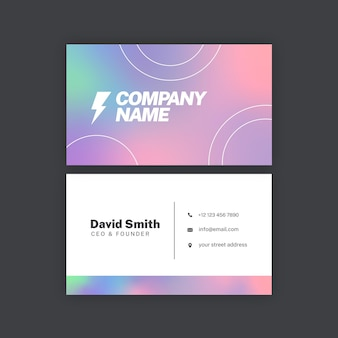 Business card template with gradient colors