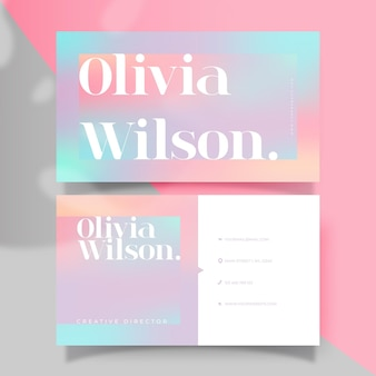 Business card template with gradient pastels
