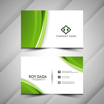 Business card template with green wave design