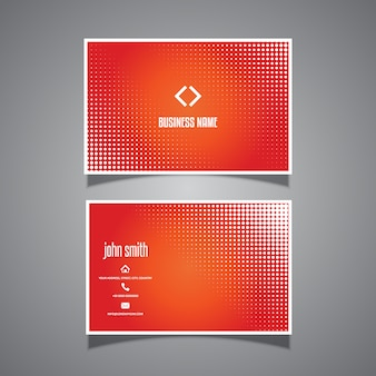Business card template with halftone dots design