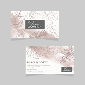 Business card template with hand drawn floral background