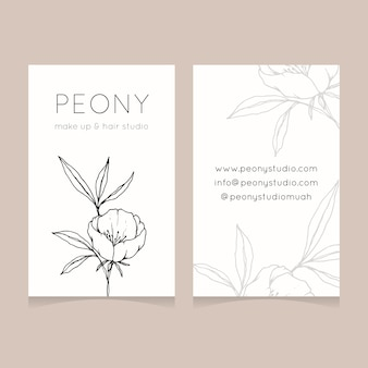 Business card template with hand drawn flower