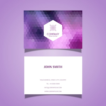 Business card template with hexagonal pattern design