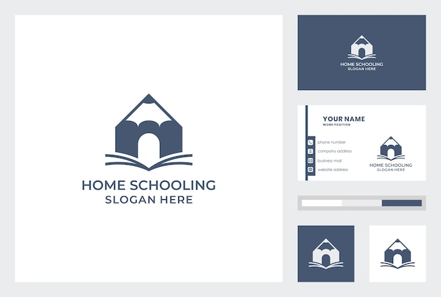 Business card template with home schooling logo design pemium vector.