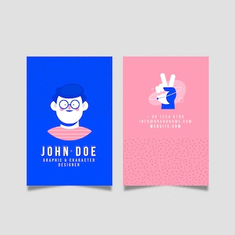 Business card template with illustration