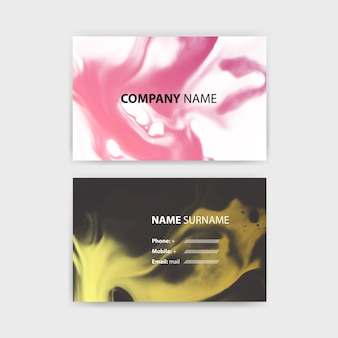 Business card template with ink design, horizontal template, layout in rectangle size.