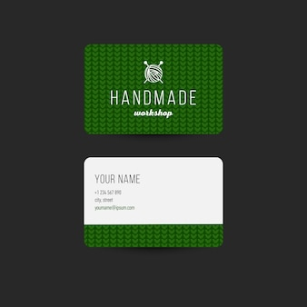 Business card template with knitted background. editable design for handcraft branding Premium Vector