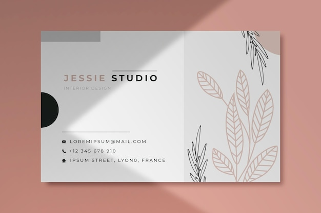 Business card template with leaves