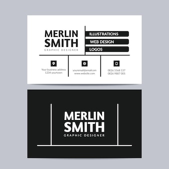 Business card template with line design