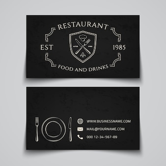 Business card template with logo for restaurant, cafe, bar or fast food.  illustration.