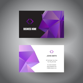 Business card template with low poly design