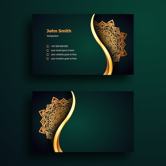 Business card template with luxury mandala arabesque background