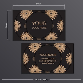 Business card template with luxury ornament. template for print design of business cards black with greek patterns.