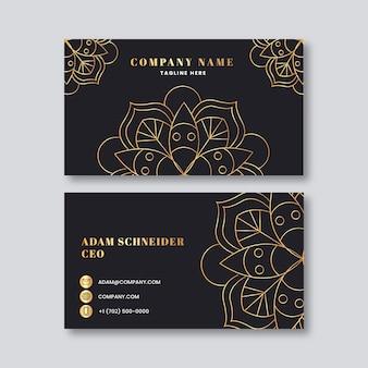 Шаблон визитки с мандалой