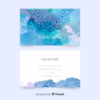 Business card template with mandala