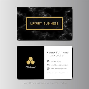 Business card template with marbling texture