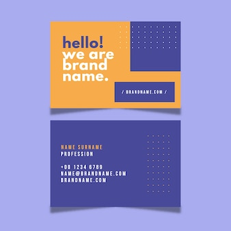 Business card template with minimal design