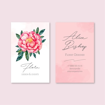 Business card template with natural motifs