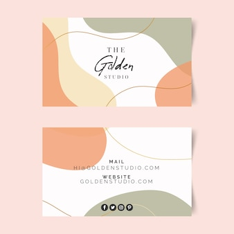 Business card template with pastel-colored stains