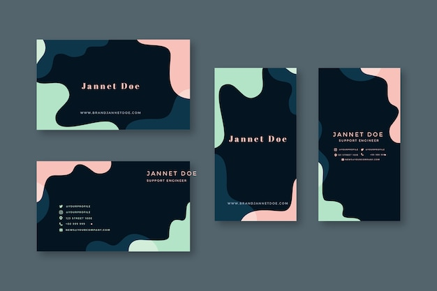 Business card template with pastel designs