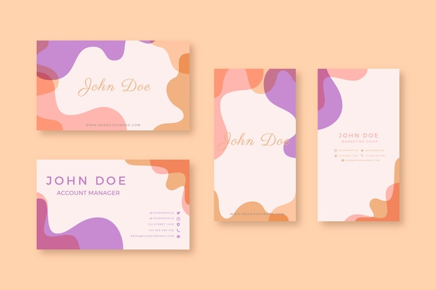 Business card template with pastel stains