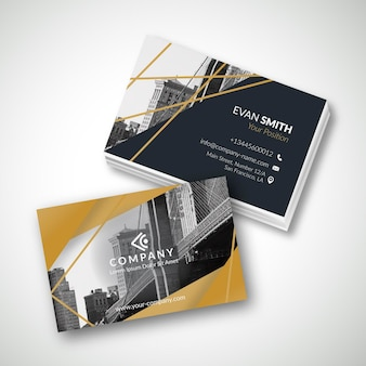 Business card template with photo of city