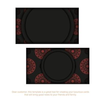 Шаблон визитной карточки с местом для текста и старинного орнамента. шаблон для полиграфического дизайна визитных карточек в черном цвете с красными узорами мандалы.