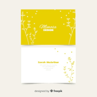 Business card template with plants