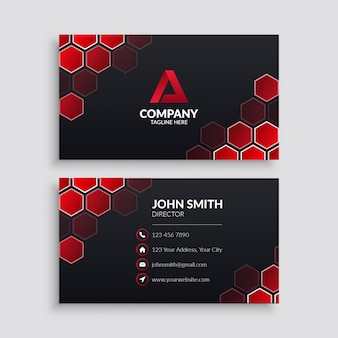 Business card template with red hexagon pattern