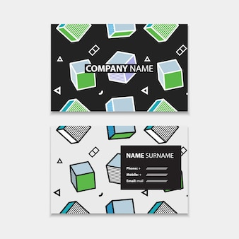 Шаблон визитной карточки с бесшовные модели с 3d-графикой в стиле поп-арт, горизонтальный шаблон, макет в размере прямоугольника. иллюстрация
