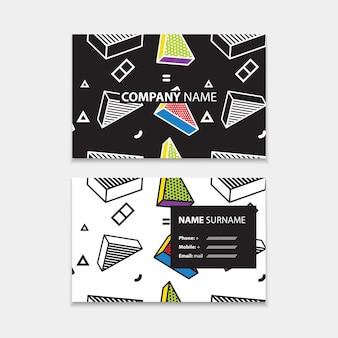 ポップアートスタイルの3dグラフィック、水平テンプレート、長方形サイズのレイアウトとシームレスなパターンの名刺テンプレート。