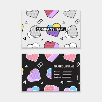 Business card template with seamless pattern with 3d graphics in pop art style, horizontal template, layout in rectangle size. Premium Vector