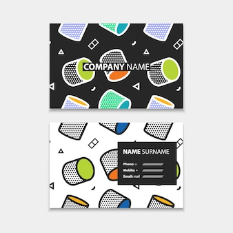 Business card template with seamless pattern with 3d graphics in pop art style, horizontal template, layout in rectangle size.