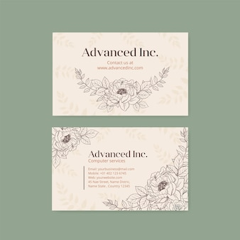 Business card template with spring line art concept design watercolor illustration