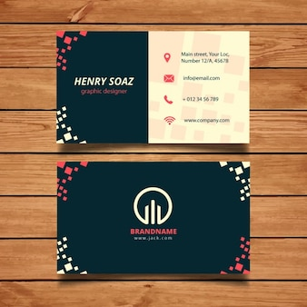 Business card template con piazze