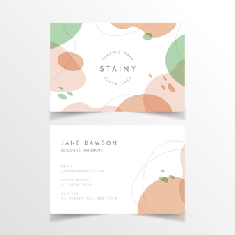 Business card template with stains