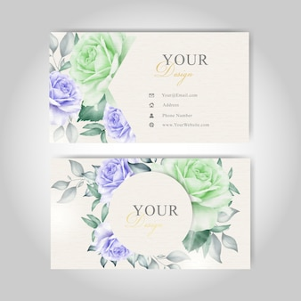 Business card template with watercolor floral and leaves