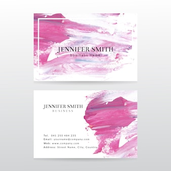 Business card template with watercolor paint abstract background