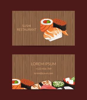 Business card templates in cartoon style for sushi restaurant or cooking lessons