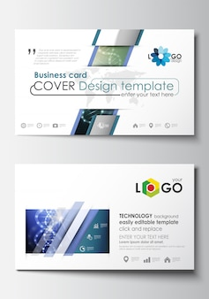 Business card templates. cover design template. dna molecule structure